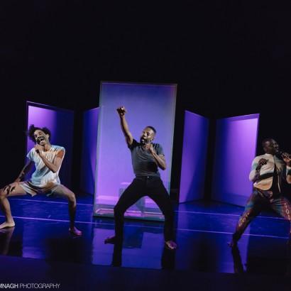 Tawiah M'Carthy, Thomas Olajide, aand Stephen Jackman-Torkoff in Black Boys at Buddies in Bad Times Theatre