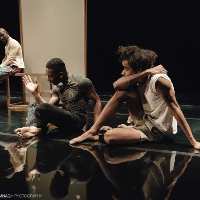 Tawiah M'Carthy, Thomas Olajide, aand Stephen Jackman-Torkoff in Black Boys at Buddies in Bad Times Theatre